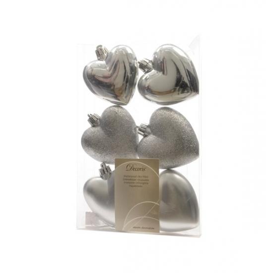 Hartjes kerstballen-hangers zilver