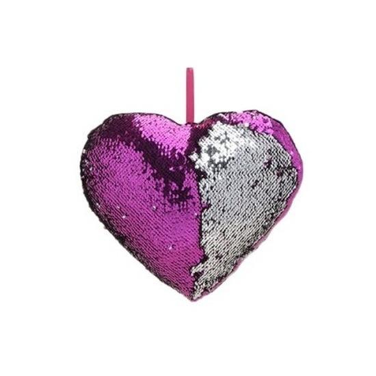 Hartjes kussen paars metallic met pailletten 30 cm