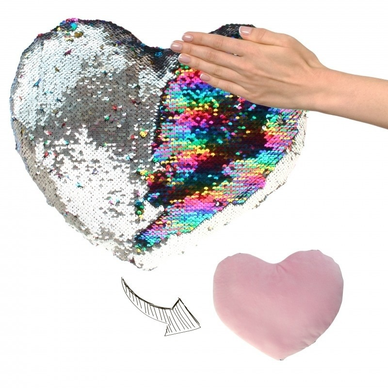 Hartjes kussen zilver-roze metallic met pailletten 30 cm