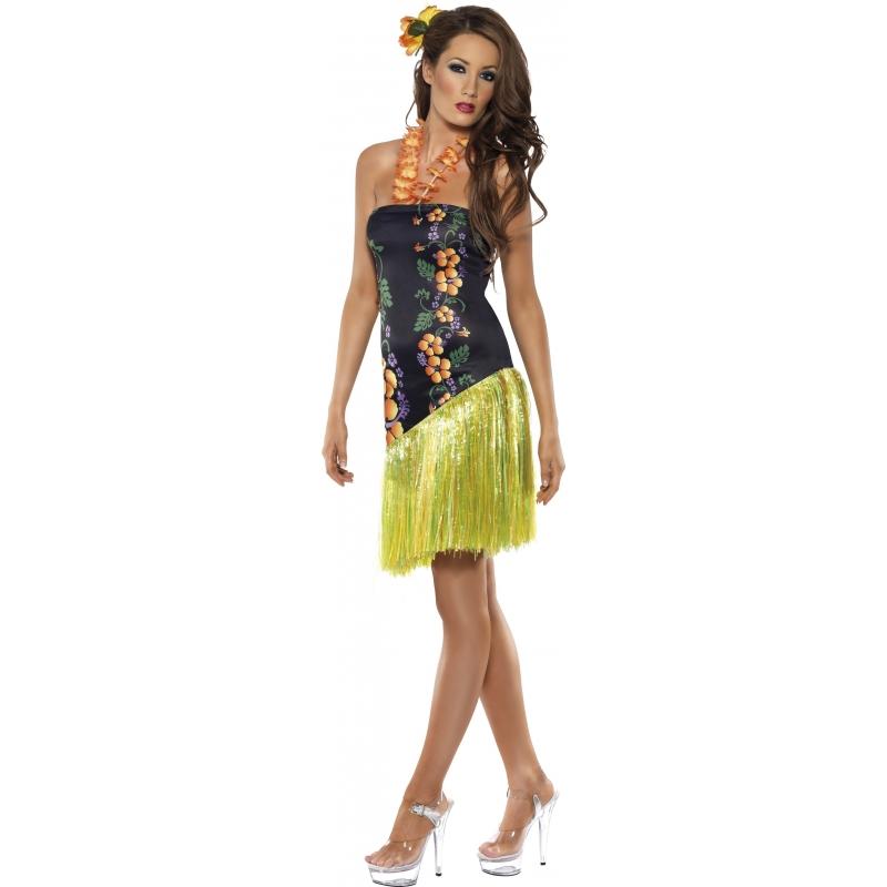 Hawaii jurkje luau voor dames. leuk hawaii jurkje inclusief hawaii bloemenketting voor dames. het jurkje ...