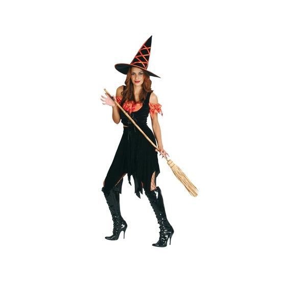 Heksenkostuum driedelig zwart oranje. een driedelig heksen kostuum bestaande uit: top, rok en hoed. deze ...