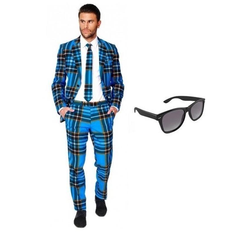 d797527a3ca1ba Heren kostuum met Schotse print maat 46 (S) met gratis zonnebri