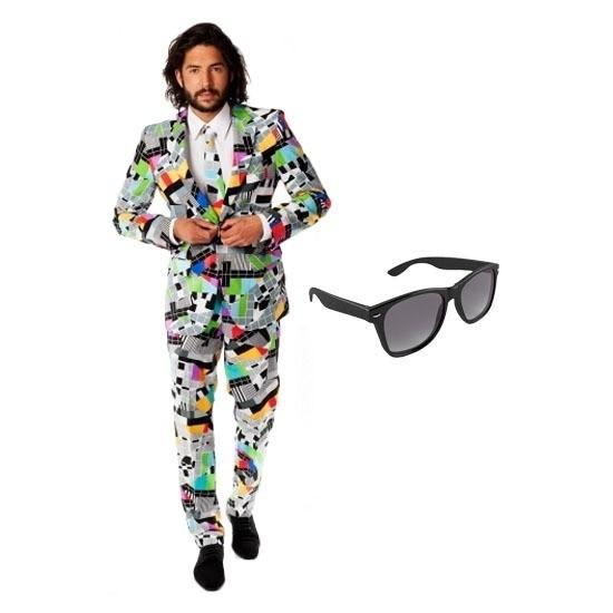 Heren kostuum met televisie print maat 48 (M) met gratis zonnebr