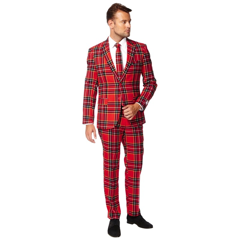 Heren verkleed pak-kostuum rode Schotse print