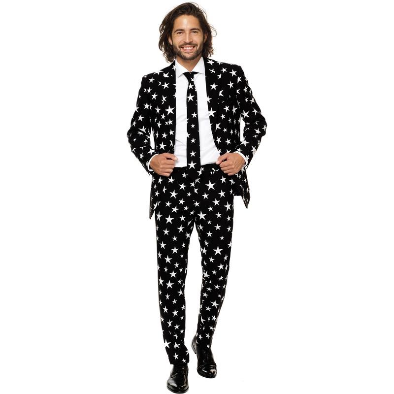 Heren verkleed pak-kostuum zwart met sterren print