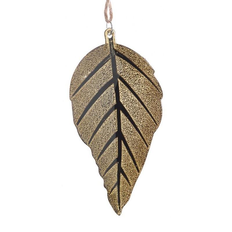 Herfst decoratie hanger blad goud 10 cm