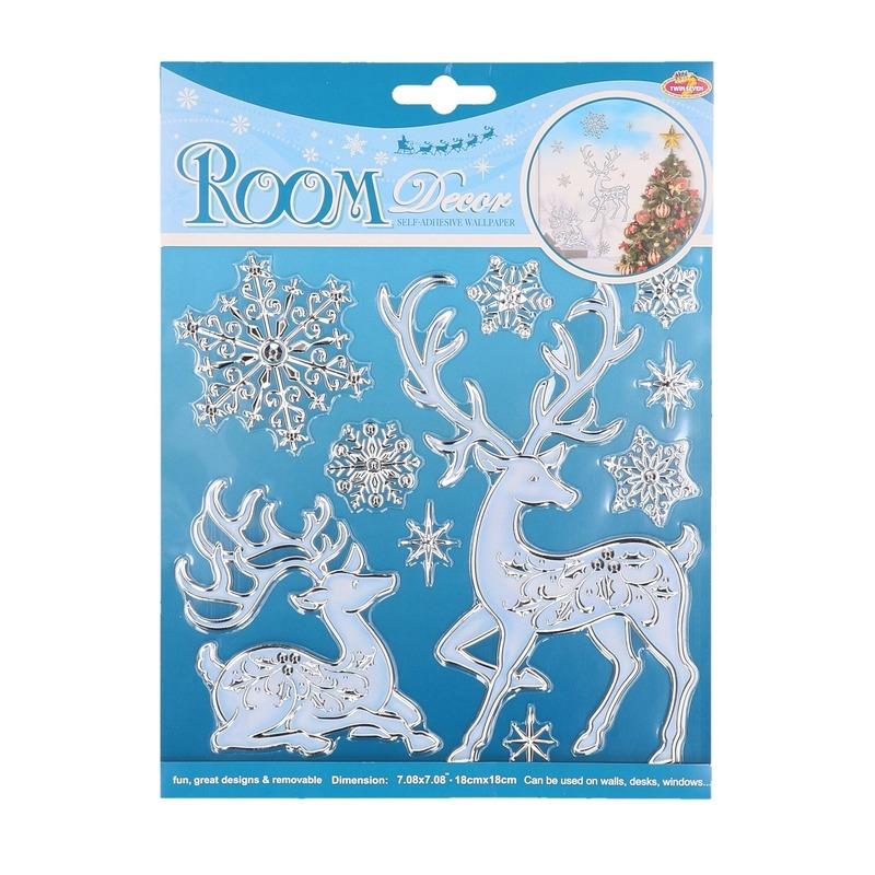 Herten en sneeuwvlokken raamstickers