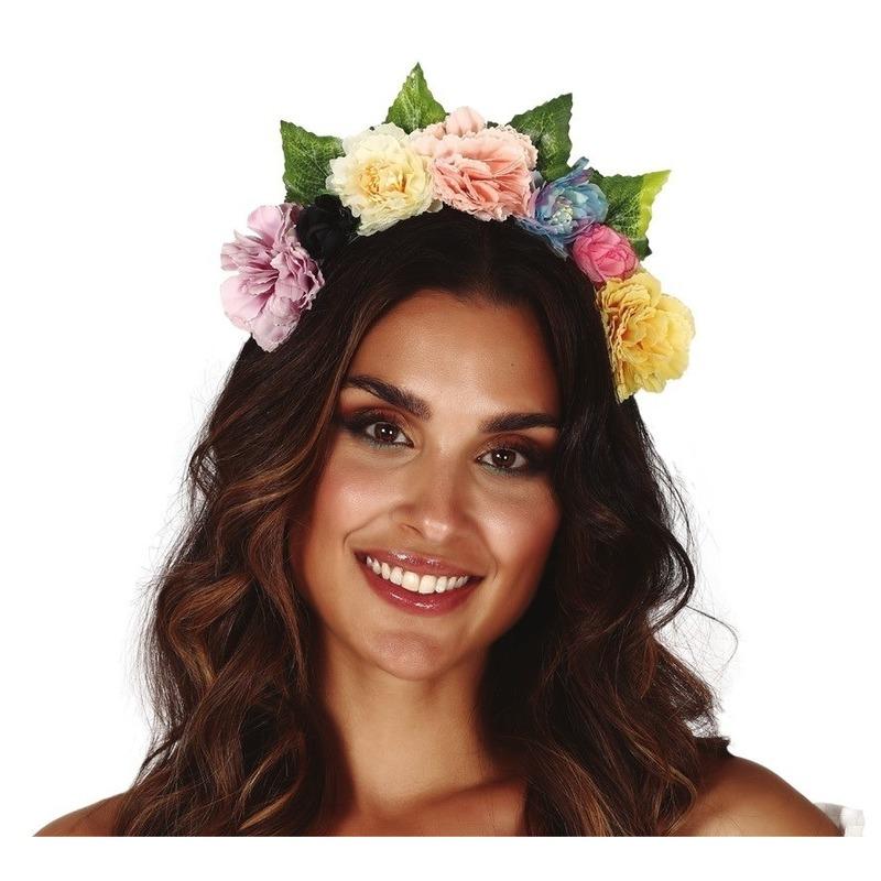 Hippie-flower power gekleurde verkleed bloemen diadeem-tiara