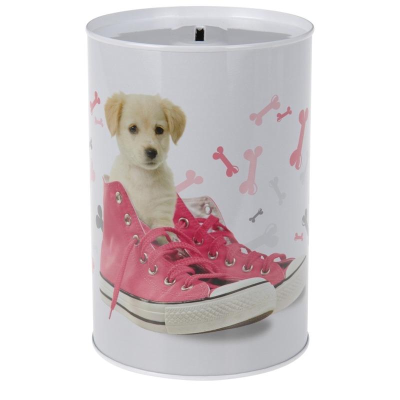 Honden met schoenen spaarpot 15 cm