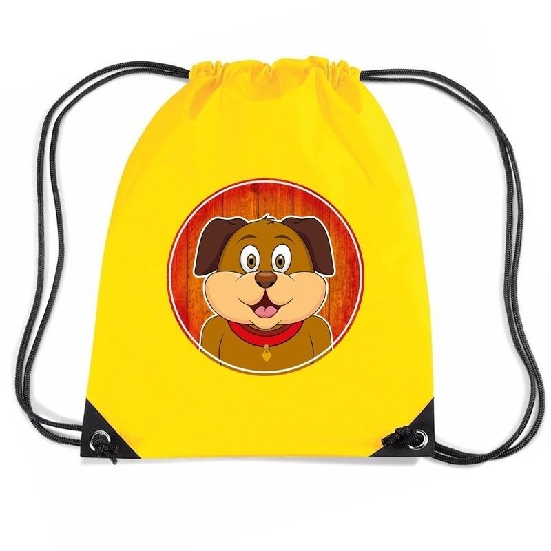 Honden rugtas-gymtas geel voor kinderen