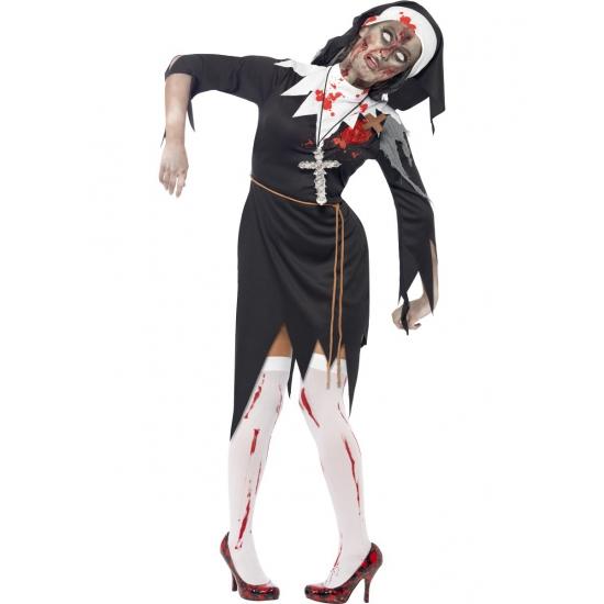Bloederige zombie non kostuum. zwart met witte nonnen kostuum met bloedende latex wond, touwriem en nonnenkap....