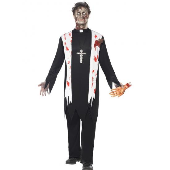 Zombie priester kostuum voor heren. bloederige priester zombie kostuum. zwart kostuum met witte sjaal met ...