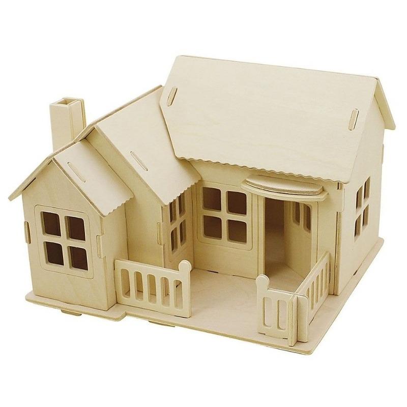 Houten 3D bouwpakket huis met terras 19 x 17 x 15 cm