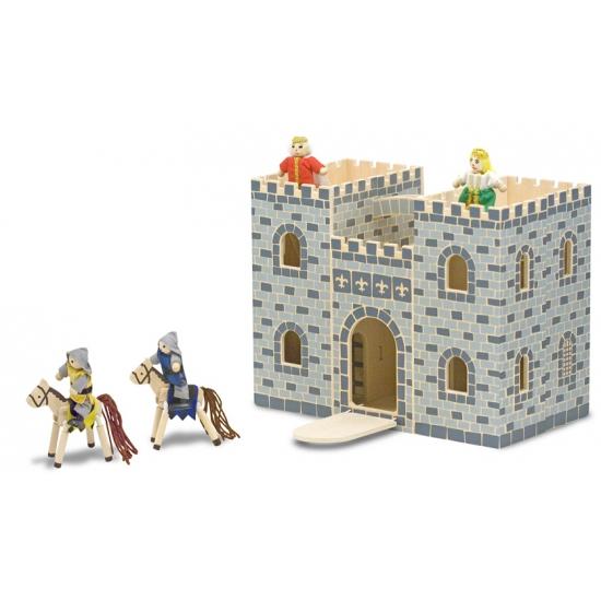 Houten speelgoed kasteel met accessoires