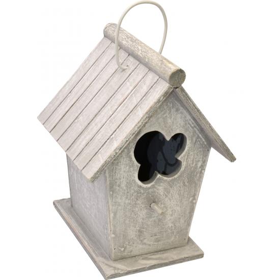 Tuin artikelen Houten vogelhuisje lichtgrijs 24 cm