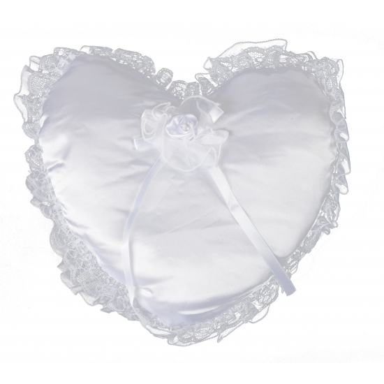 Huwelijks ringen kussentje wit 30 cm