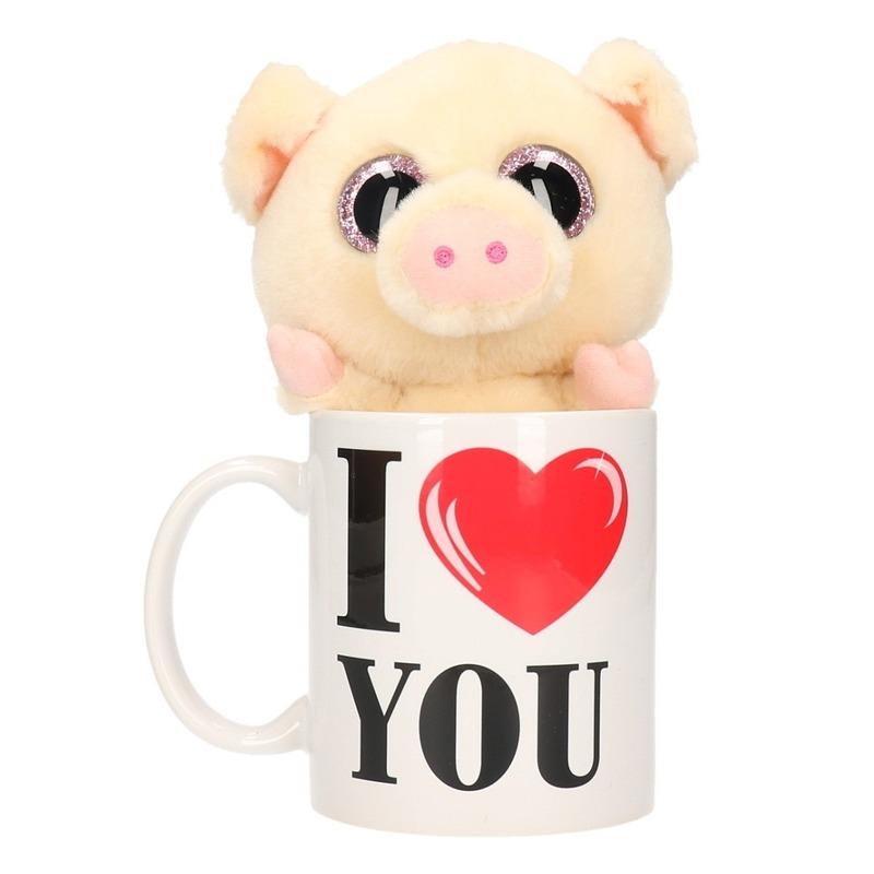 I Love You mok met knuffel varken-big