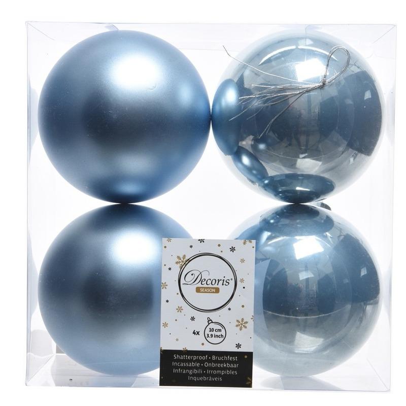 IJsblauwe kerstversiering kerstballen kunststof 10 cm
