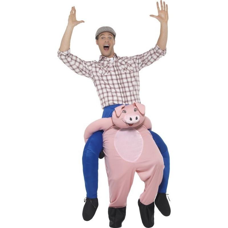Instap dierenpak kostuum varken voor volwassenen