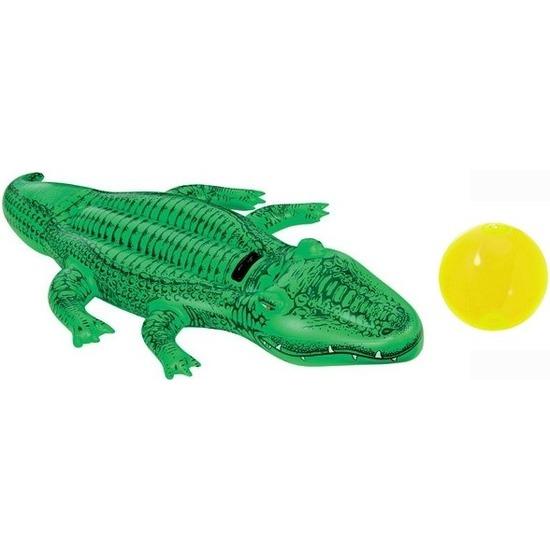 Intex opblaasbare krokodil 168 cm ride-on met gratis strandbal