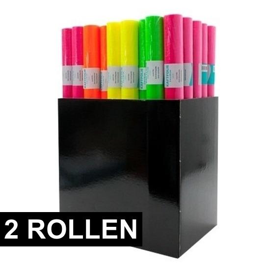 Kaftpapier folie schoolboeken neon geel 6 meter