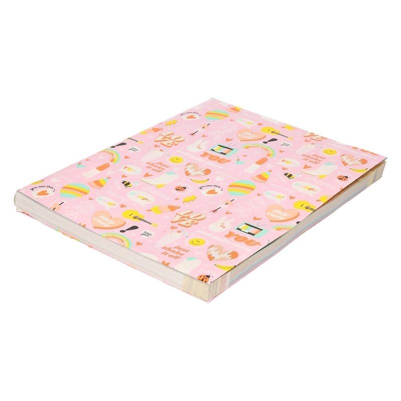Kaftpapier girlpower 200 x 70 cm roze