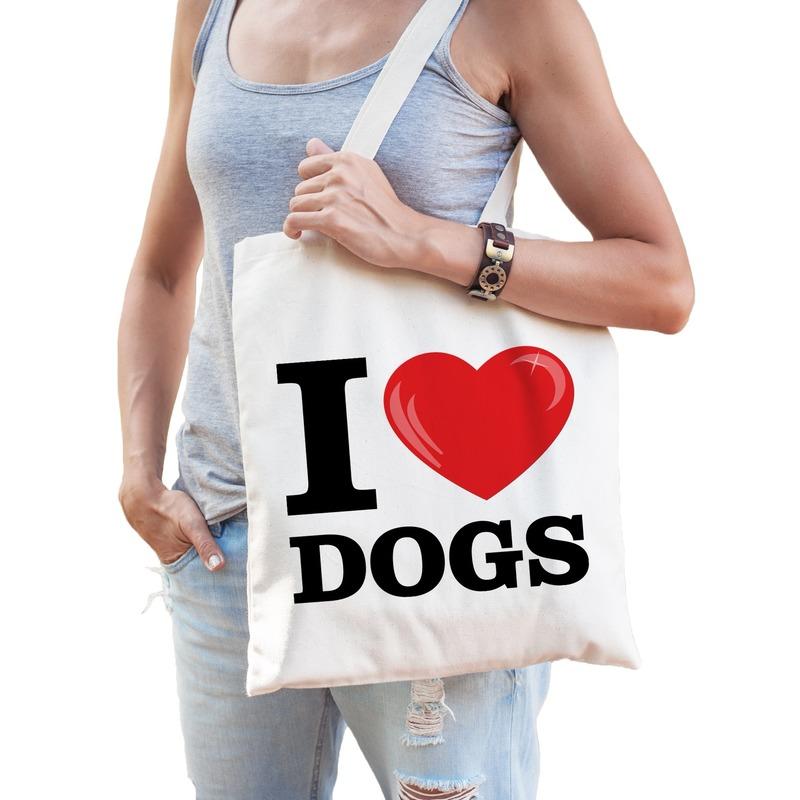 Katoenen tasje I love dogs- honden