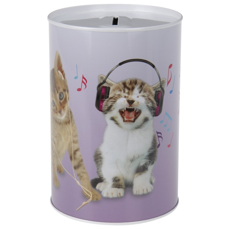 Katten-poezen met koptelefoon spaarpot 15 cm