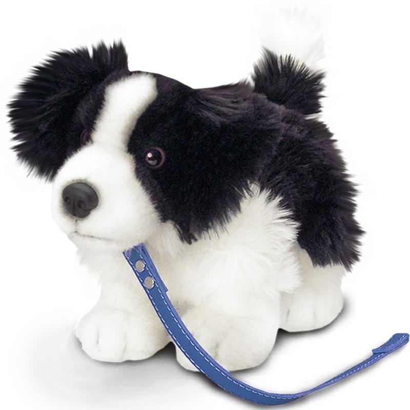 Keel Toys pluche Border Collie honden knuffel 30 cm met riem