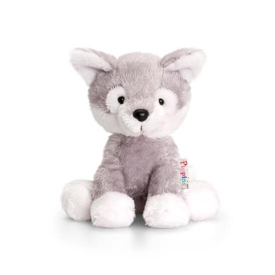 Keel Toys pluche husky hond knuffel zittend 14 cm