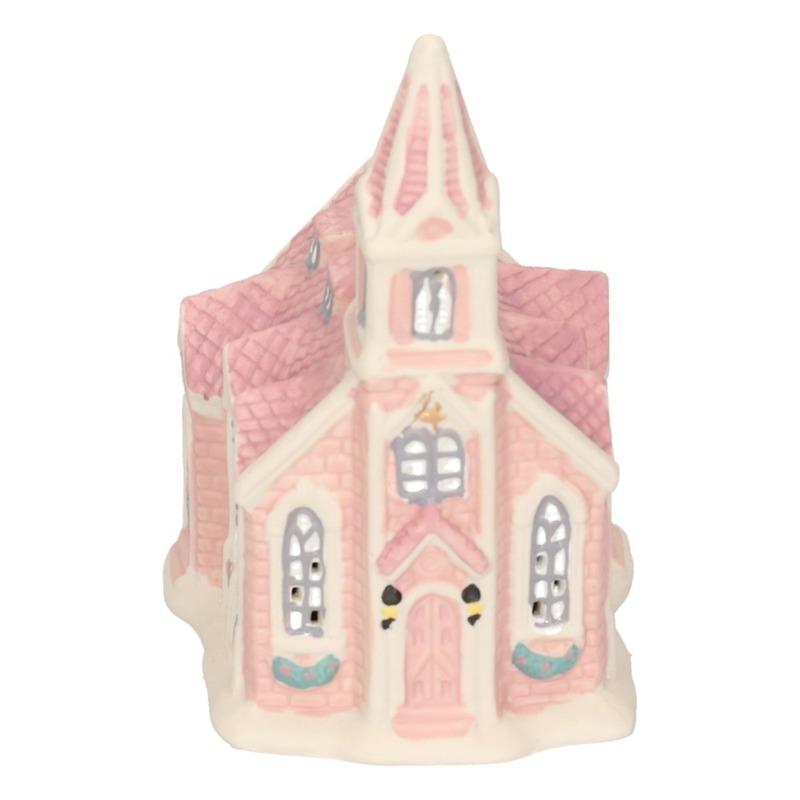 Kerk kerstdorp huisje 10 cm met LED verlichting