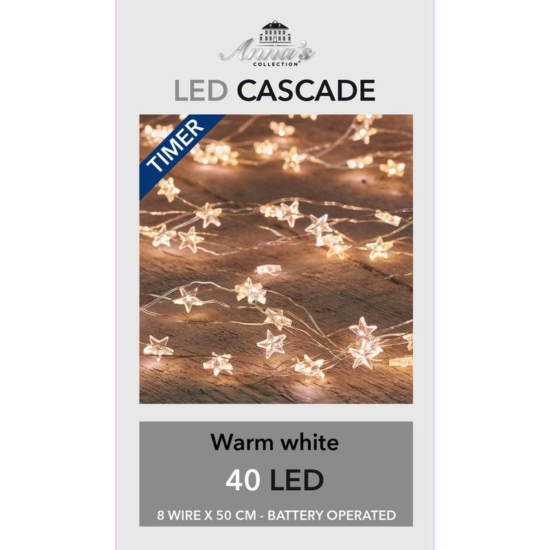 Kerst cascadeverlichting met timer 40 lampjes warm wit 8x 50 cm