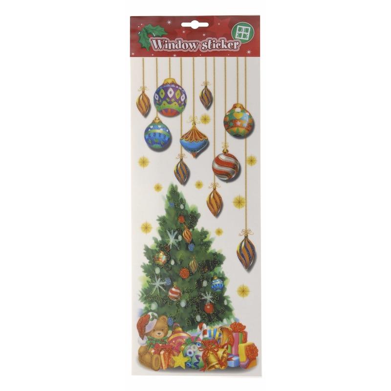 Kerst decoratie raamsticker kerstboom met kerstballen 42 cm