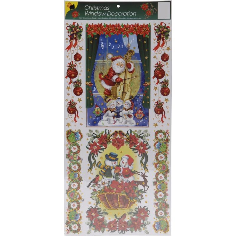 Kerst decoratie raamstickers met glitters type 1