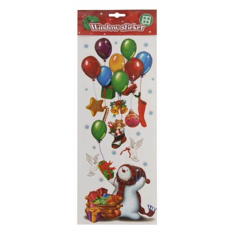 Kerst decoratie raamstickers sneeuwpop met ballonnen 42 cm