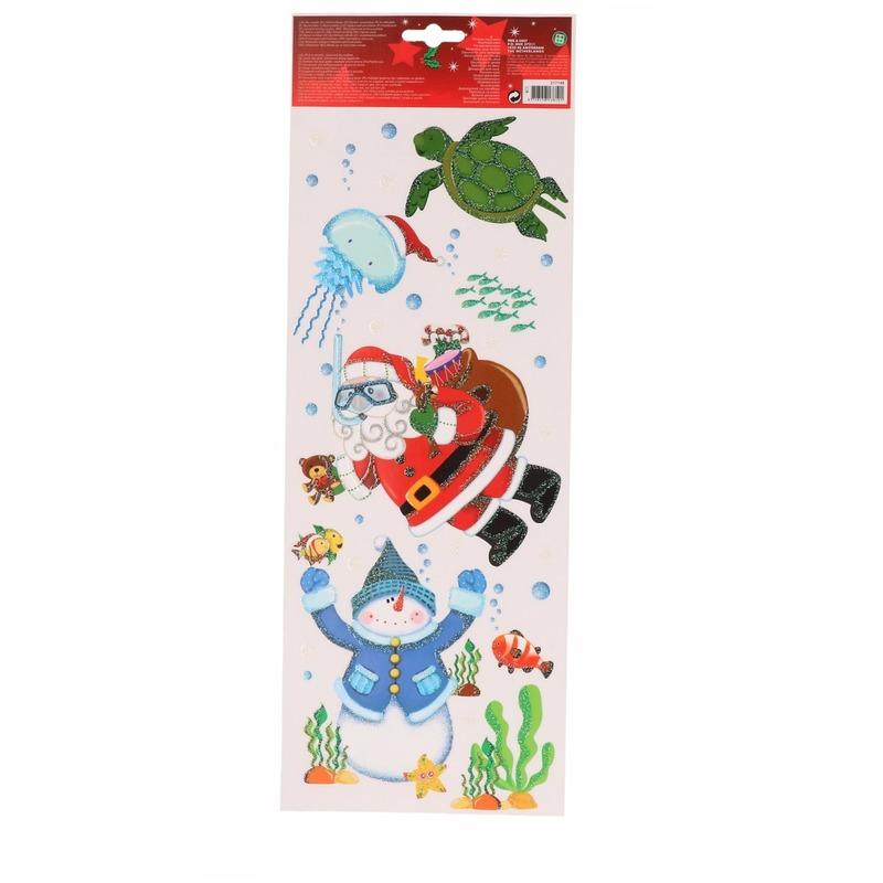 Kerst decoratie raamstickers snorkelende Kerstman 42 cm
