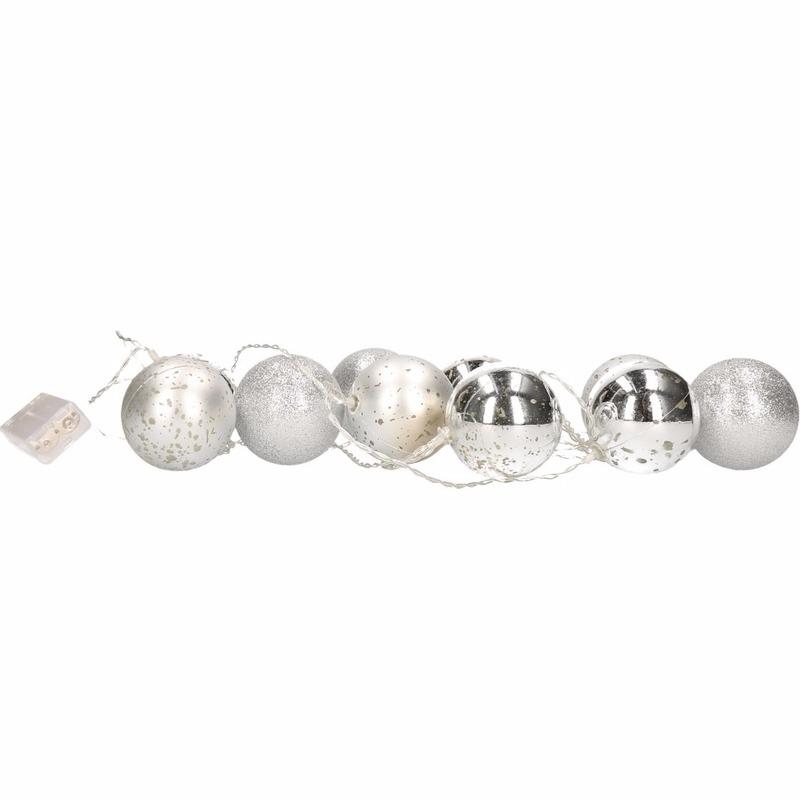Kerst decoratie zilveren kerstballen slinger met LED licht 200 c