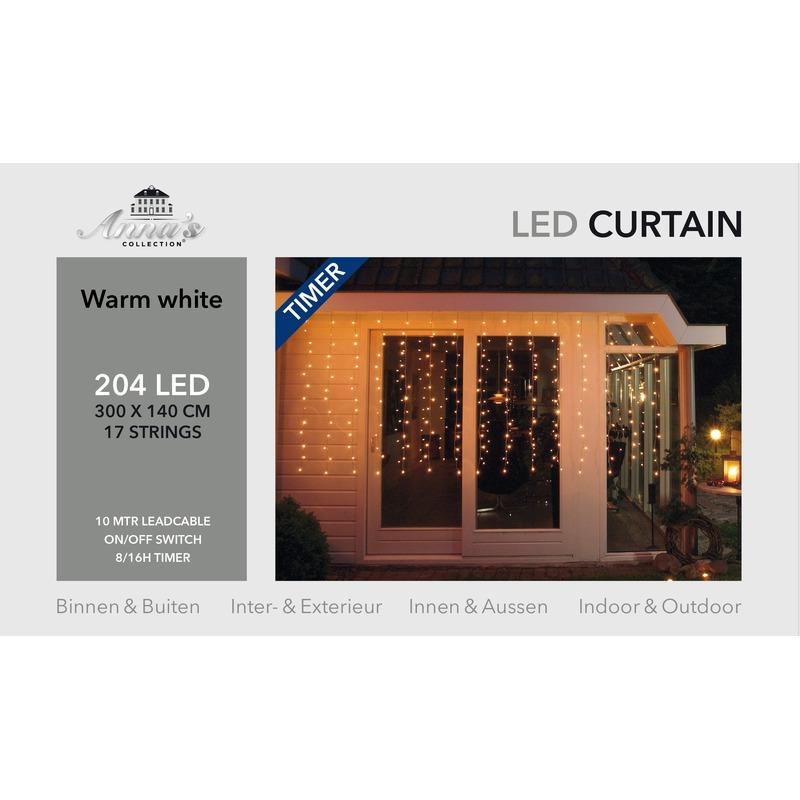 Kerst ijspegelverlichting met timer 204 lampjes warm wit 3,0 m