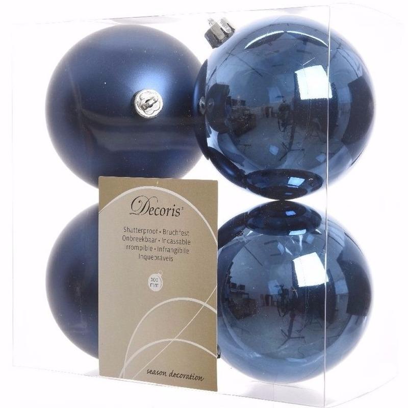 Kerst kerstballen blauw 10 cm Mystic Christmas 4 stuks