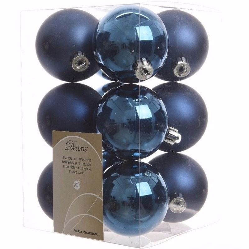 Kerst kerstballen blauw 6 cm Mystic Christmas 12 stuks