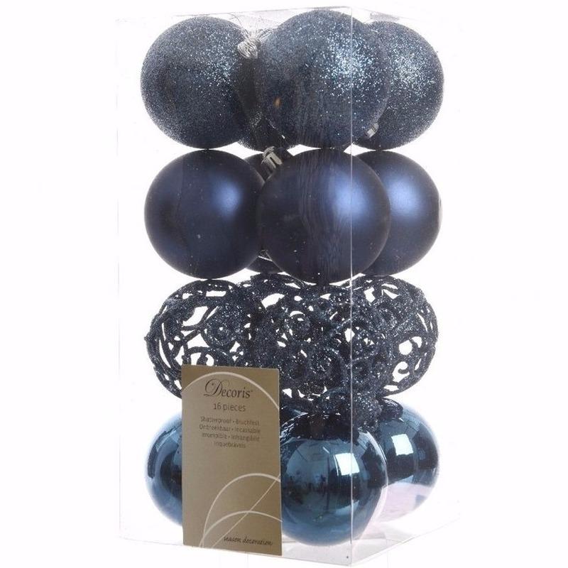 Kerst kerstballen blauw 6 cm Mystic Christmas 16 stuks