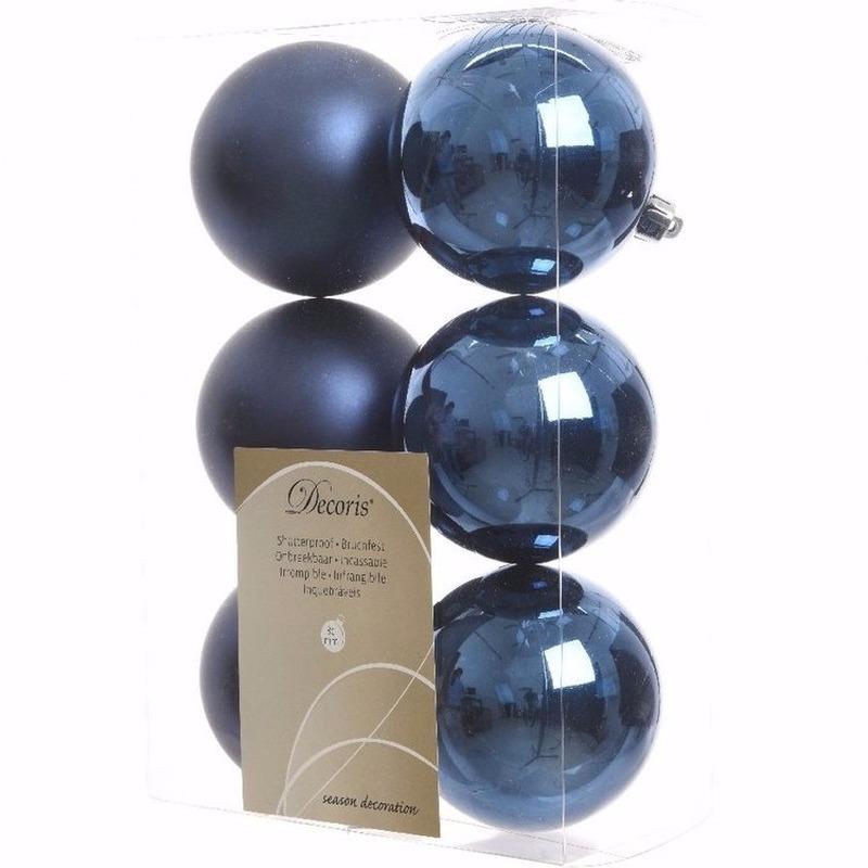 Kerst kerstballen blauw 6 cm Mystic Christmas 6 stuks