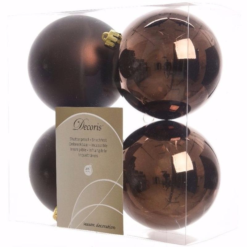 Kerst kerstballen bruin 10 cm Chique Christmas 4 stuks