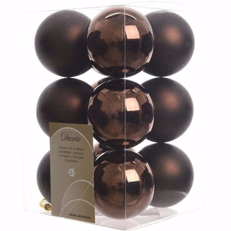 Kerst kerstballen bruin 6 cm Chique Christmas 12 stuks