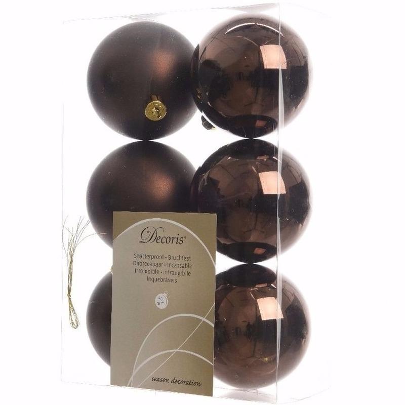 Kerst kerstballen bruin 6 cm Cosy Christmas 6 stuks