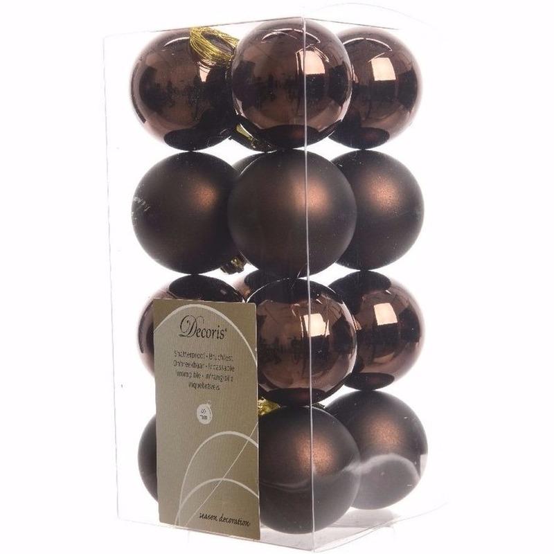 Kerst kerstballen bruin mix 4 cm Cosy Christmas 16 stuks
