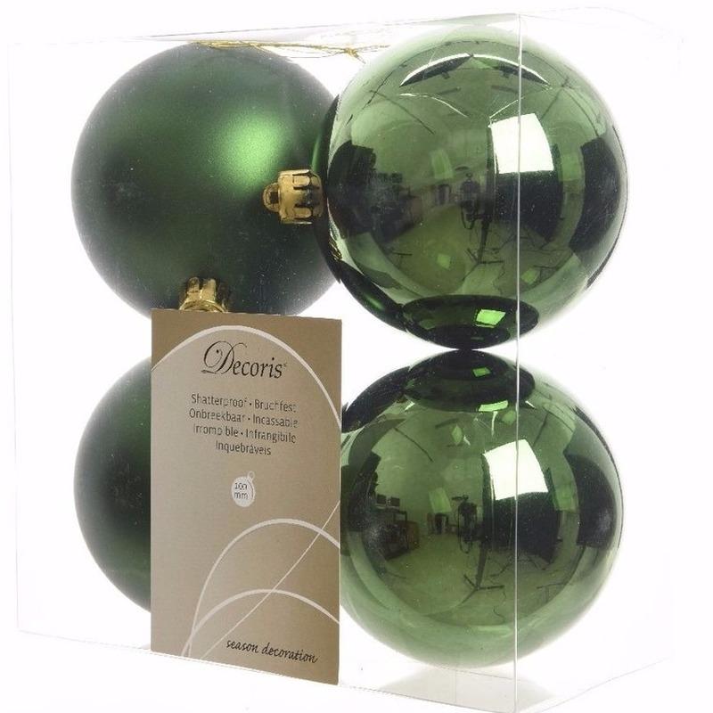 Kerst kerstballen groen 10 cm Ambiance Christmas 4 stuks