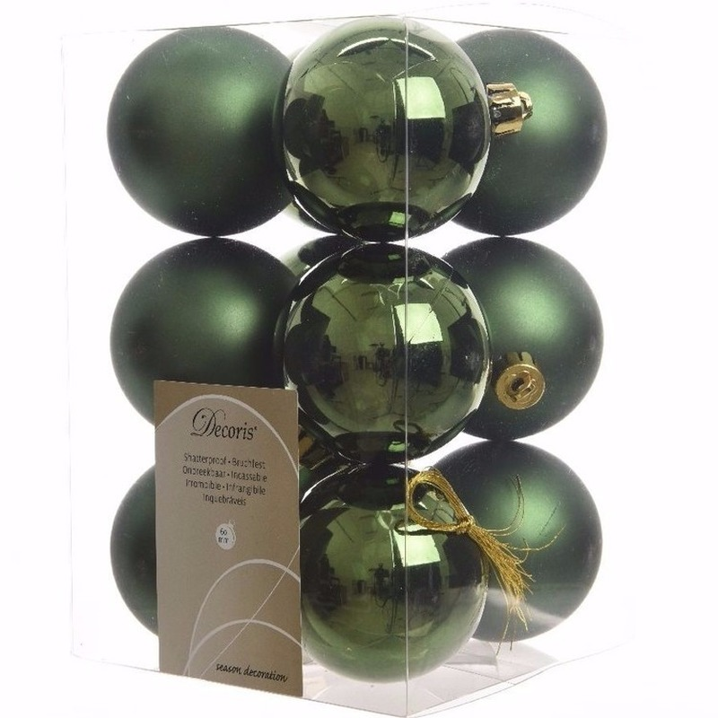 Kerst kerstballen groen 6 cm Nature Christmas 12 stuks
