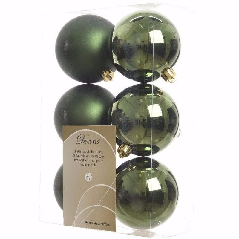 Kerst kerstballen groen 6 cm Nature Christmas 6 stuks