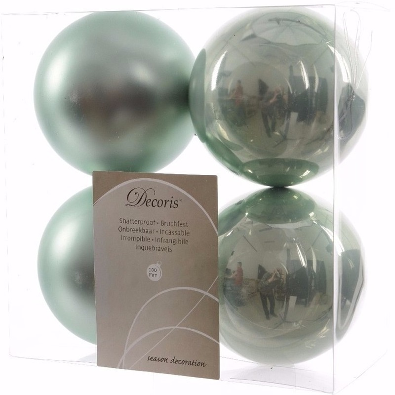 Kerst kerstballen mint 10 cm Nature Christmas 4 stuks